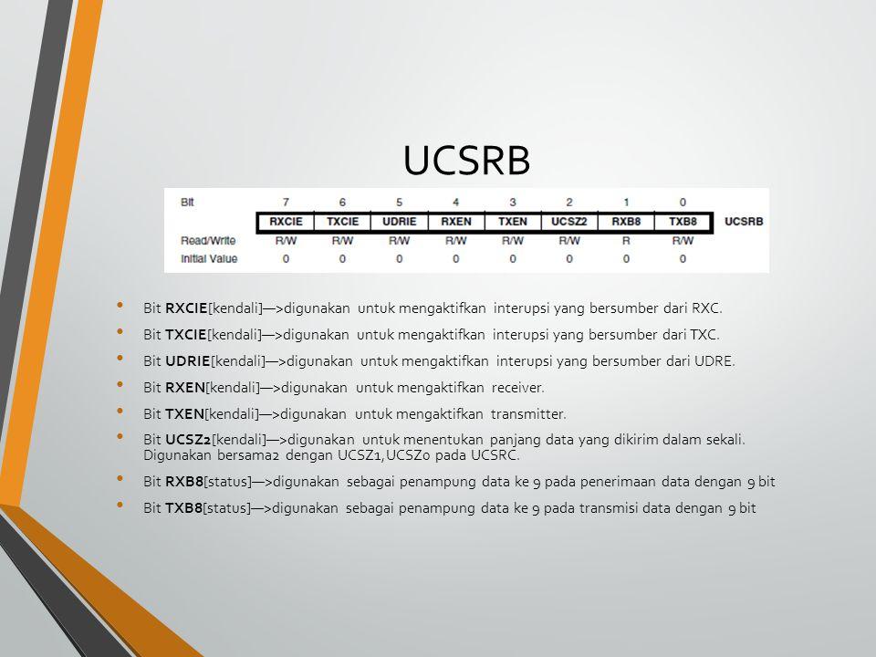 UCSRB Bit RXCIE[kendali]—>digunakan untuk mengaktifkan interupsi yang bersumber dari RXC.